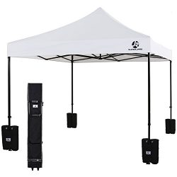 SUPERJARE Pop-up Canopy, 10'x10′ Instant Folding Tent with Wheeled Carry Bag and Wei ...
