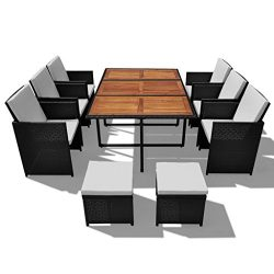 Festnight 27 Pieces Outdoor Poly Rattan Patio Dining Set 6 Rattan Chairs 6 Rattan Stools and 1 A ...