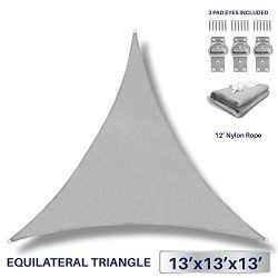 13′ x 13′ x 13′ Sun Shade Sail UV Block Fabric Canopy in Light Grey Triangle f ...