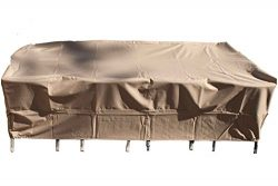 Patio Dining Table and Chair Cover Rectangle Fits Up To 70-Inch Sets, Beige All Weather Protecti ...
