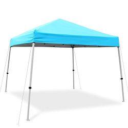 Ohuhu Pop-Up Canopy Tent Instant Shelter with Wheeled Carry Bag, 10 by 10 Feet, Blue