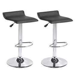 Mecor Leather barstools Adjustable Swivel Bar Chairs,Set of 2,Black