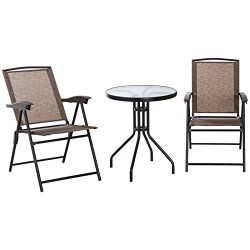 Outsunny 3 Piece Outdoor Patio Dining Bistro Table and Folding Arm Chair Set – Brown