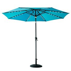 FLAME&SHADE 10′ LED Outdoor Patio Market Umbrella with Solar Power LED Lights, Crank L ...