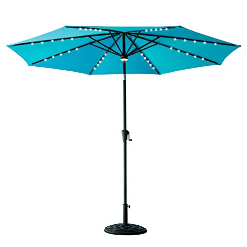 Blue Led Umbrella: FLAME&SHADE 10' LED Outdoor Patio Market Umbrella With