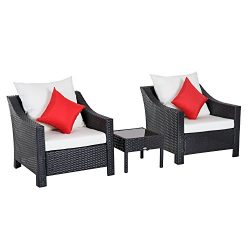 Outsunny 3 Piece Outdoor Patio Rattan Wicker Table and Chair Bistro Set Cushioned Conversation S ...