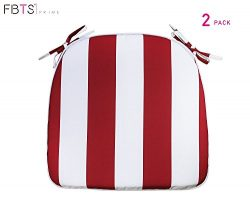 Outdoor Chair Cushions (Set of 2) 16×17 Inches Patio Seat Cushions Red and White Stripe Squ ...