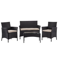 BestMassage Outdoor Furniture Patio Sofa set Wicker Rattan Sectional 4 pcs Garden Conversation S ...