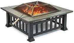 Sorbus Fire Pit Square Table with Screen Cover, Log Grate, Poker Tool, Great BBQ Grill for Outdo ...
