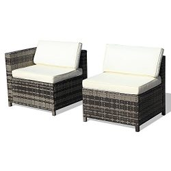 Super Patio Armless Chair& Corner Chair, Outdoor Patio Furniture All Weather Grey Rattan Wic ...