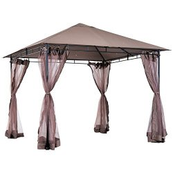 Outsunny 10' X 10' Outdoor Soft Top Steel Garden Gazebo with Removable Mesh Side Curtains – ...