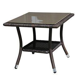Super Patio Outdoor Patio Wicker Rattan Table Rattan Square Glass Top Wicker Coffee Table End Si ...