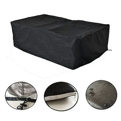 Moinco Patio Outdoor Protective Sofa Cover Garden Furniture Cover All Weather Drawstring-Large Black