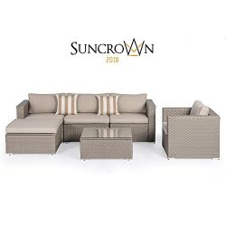 Suncrown Outdoor Modular Sectional Furniture Set (6-Piece) All-weather Grey Wicker with Light Gr ...