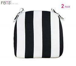 Outdoor Chair Cushions (Set of 2) 16×17 Inches Patio Seat Cushions Black and White Stripe S ...