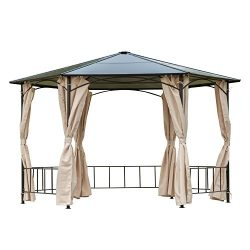 Outsunny 13′ x 13′ Outdoor Steel Framed Hardtop Hexagon Gazebo Shelter with Removabl ...