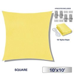 Windscreen4less 10′ x 10′ Square Sun Shade Sail – Solid Canary yellow Durable  ...