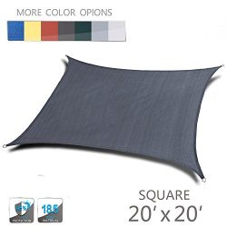 Love Story 20′ x 20′ Square Charcoal UV Block Sun Shade Sail Perfect for Outdoor Pat ...