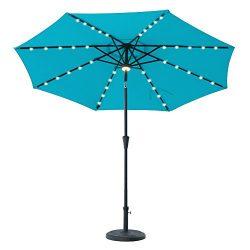 FLAME&SHADE 9′ Solar Power LED Light Outdoor Patio Market Umbrella with Crank Lift, Pu ...