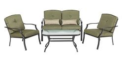 Backyard Classics Cypress 4-Piece Patio Seating Set with Sofa Chairs, Loveseat, and Glass Coffee ...