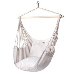Y-STOP Hammock Chair Hanging Rope Porch Swing Seat Quality Cotton Weave for Superior Comfort &am ...