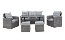 Modern 6-Piece Outdoor Furniture Dining Set, Patio Rattan Table and Chairs (Grey/Grey)