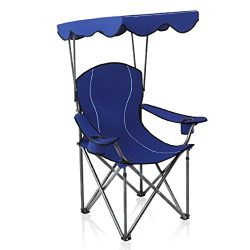 ALPHA CAMP Shade Canopy Chair Folding Camping Chair Support 350 LBS – Navy Blue