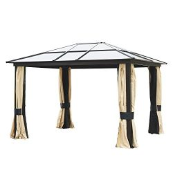 Outsunny 12′ x 10′ Outdoor Patio Canopy Party Gazebo w/ Mesh and Curtains – Beige