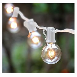 25Ft Outdoor Patio String Lights with 25 Clear Globe G40 Bulbs,UL Certified for Patio Porch Back ...