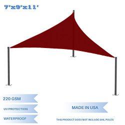 E&K Sunrise 7′ x 9′ x 11.4′ Waterproof Sun Shade Sail -Red Right triangle  ...