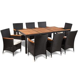 vidaXL Patio Rattan Wicker Outdoor Dining Set Garden Furniture Table Chair Black
