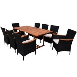 vidaXL Patio Rattan Wicker Outdoor Dining Set Garden Furniture Chairs Wood Table