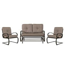 Cloud Mountain 3 Piece Metal Conversation Set Cushioned Outdoor Furniture Garden Patio Wrought I ...