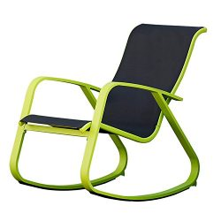 Grand patio Modern Swing Rock Chair Glider with Lemon Green Aluminum Frame, Indoor/Outdoor