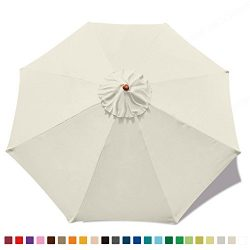 ABCCANOPY 23+ colors 9ft Market Umbrella Replacement Canopy 8 Ribs (Creamy-White)