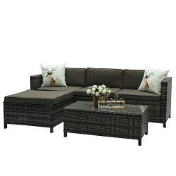 Outdoor Patio Furniture set, 5 Piece PE Wicker Rattan Sectional Furniture Set,Grey Wicker Grey C ...