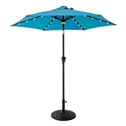 FLAME&SHADE 7'5″ Round Solar Power LED Light Outdoor Patio Market Umbrella, Cran ...