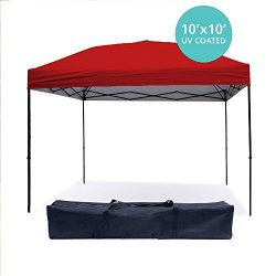 Punchau Pop Up Canopy Tent 10 x 10 Feet, Red – UV Coated, Waterproof Instant Outdoor Party ...