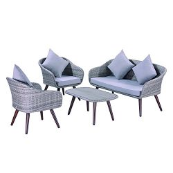 Outsunny 4 Piece Modern Wicker Rattan Patio Conversation Set – Skyline Grey