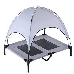 SUPERJARE Large Dog Cot with Canopy Elevated Pet Bed | Indoor or Outdoor  | Sturdy 1680D Oxford  ...