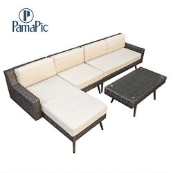 Pamapic Outdoor 4 Pieces Patio Furniture Sets【Chaise Longue 】 PE Rattan Wicker Outdoor Garden  ...