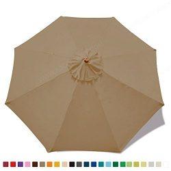 ABCCANOPY 23+ colors 9ft Market Umbrella Replacement Canopy 8 Ribs (Khaki)