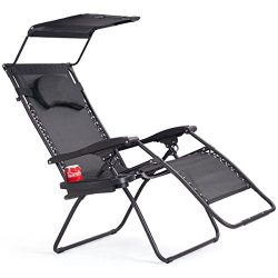 Goplus Folding Zero Gravity Lounge Chair Wide Recliner for Outdoor Beach Patio Pool w/Shade Cano ...