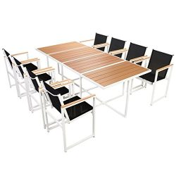 Daonanba Outdoor Furniture Set Patio Dining Set Garden Dining Table Chairs Set Aluminum WPC Brow ...