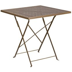 "Flash Furniture 28"" Square Gold Indoor-Outdoor Steel Folding Patio Table"