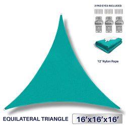 Windscreen4less 16′ x 16′ x 16′ Sun Shade Sail UV Block Fabric Canopy in Turqu ...
