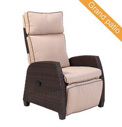 Grand patio MOOR Indoor & Outdoor Reclining Chair with Thick Beige Cushion, Weather-Resistan ...