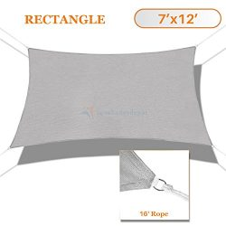 Sunshades Depot 7′ x 12′ Sun Shade Sail Square Permeable Canopy Light Gray/Grey Cust ...