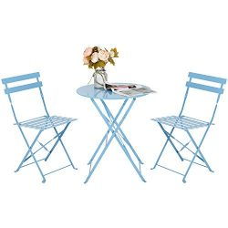 Marble Field Patio 3-Piece Folding Bistro Furniture Set, Outdoor&Balcony Table and Chairs Se ...