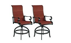 Ashley Furniture Signature Design – Apple Town Outdoor Sling Swivel Bar Stool – Set  ...